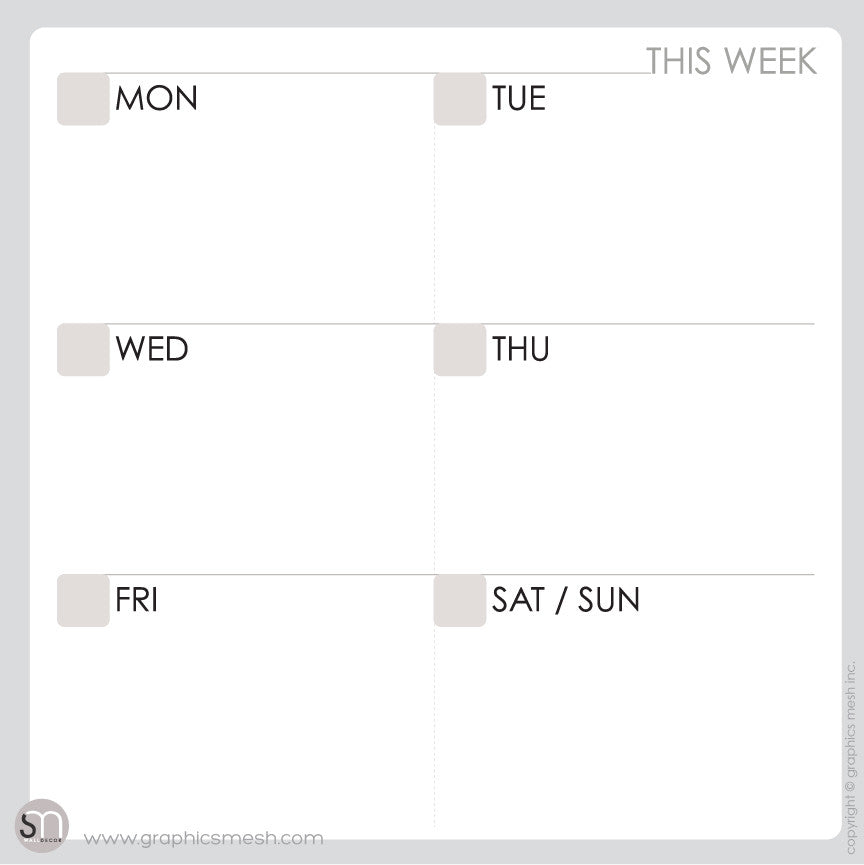 Weekly DRY ERASE CALENDAR DECALS - MOD COLLECTION