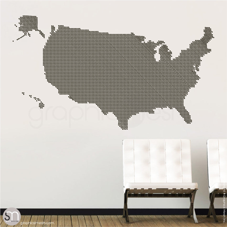 Connected dots USA map wall decals   GraphicsMesh