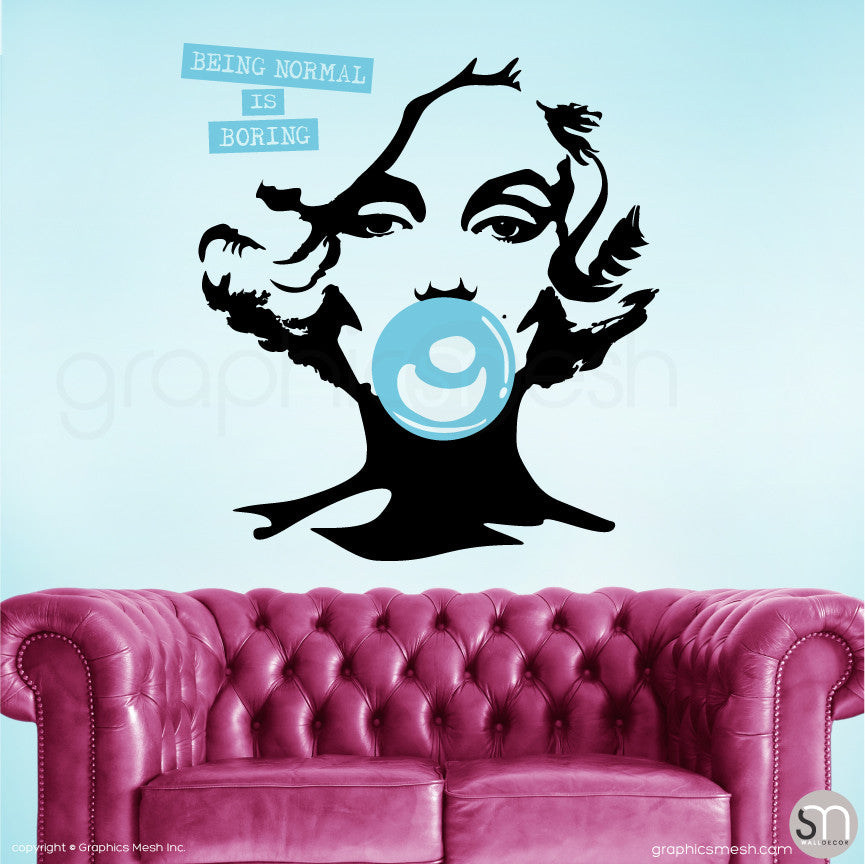 "MARILYN MONROE BUBBLE GUM ""NORMAL IS BORING"" Wall decal sky blue large"