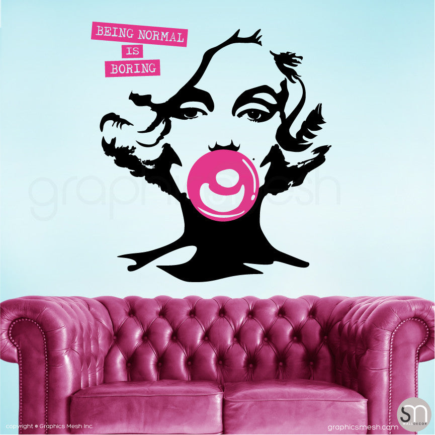"MARILYN MONROE BUBBLE GUM ""NORMAL IS BORING"" Wall decal large hot pink'"
