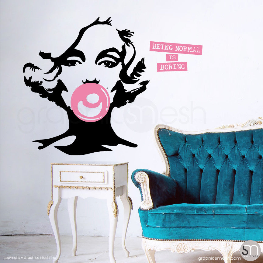 "MARILYN MONROE BUBBLE GUM ""NORMAL IS BORING"" Wall decal pink"