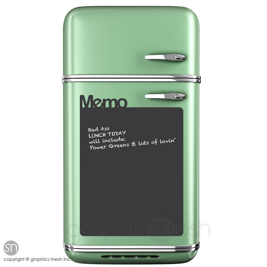 Memo Chalkboard decal on a refrigerator