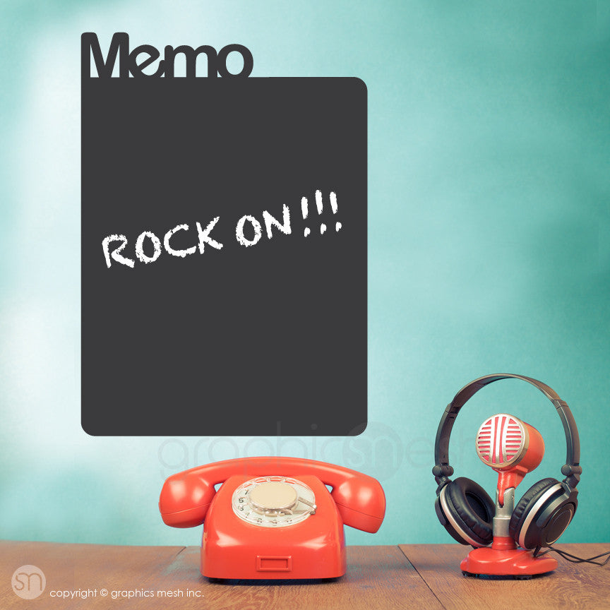 Memo Chalkboard decal on a wall near phone and mic