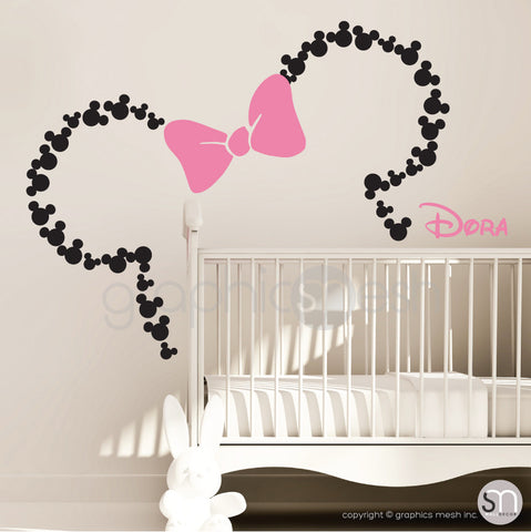 Mickey Mouse Inspired ears with Bow & PERSONALIZED BABY NAME / Minnie Mouse Inspired wall decals by GraphicsMesh black and pink