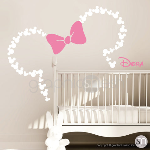Mickey Mouse Inspired ears with Bow & PERSONALIZED BABY NAME / Minnie Mouse Inspired wall decals by GraphicsMesh white and pink