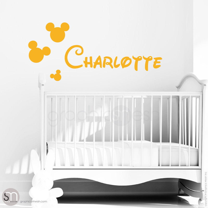 MICKEY MOUSE STYLE PERSONALIZED BABY NAME - Disney inspired wall decals Golden Yellow