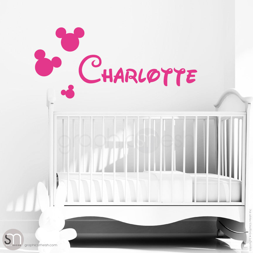 MICKEY MOUSE STYLE PERSONALIZED BABY NAME - Disney inspired wall decals Hot Pink