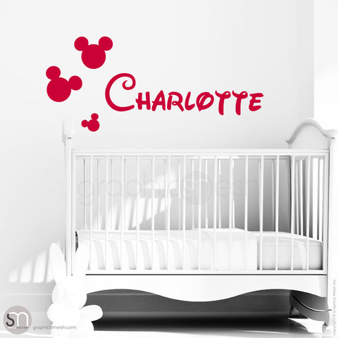 MICKEY MOUSE STYLE PERSONALIZED BABY NAME - Disney inspired wall decals Red