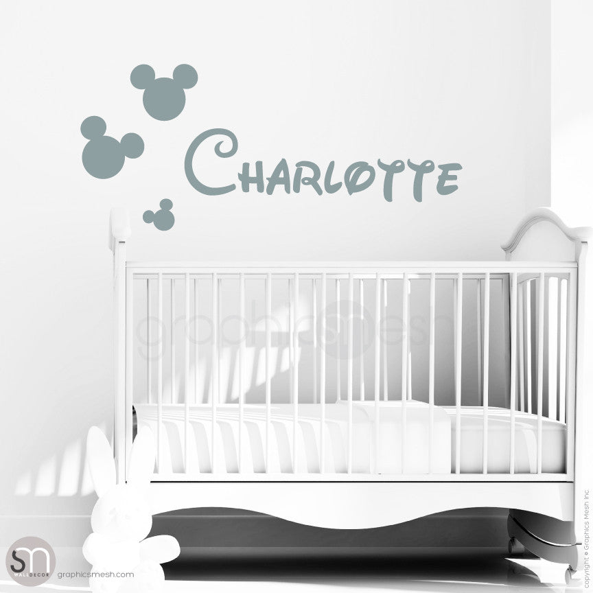 MICKEY MOUSE STYLE PERSONALIZED BABY NAME - Disney inspired wall decals Grey