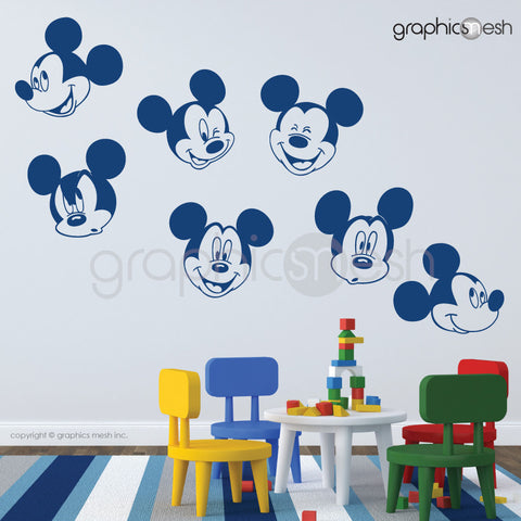 MICKEY MOUSE VARIOUS FACES - Wall decals blue