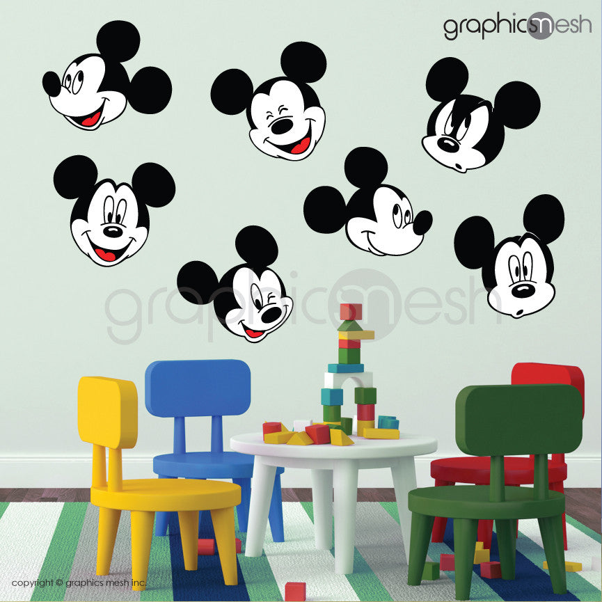 MICKEY MOUSE VARIOUS FACES   Printed Wall Decals ... Part 97