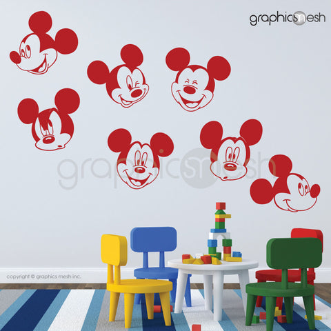 MICKEY MOUSE VARIOUS FACES - Wall decals red