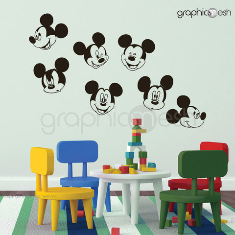 MICKEY MOUSE VARIOUS FACES - Wall decals black