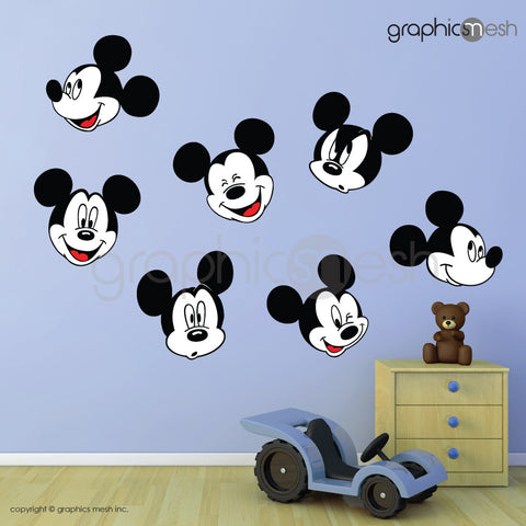 MICKEY MOUSE VARIOUS FACES - Printed Wall decals