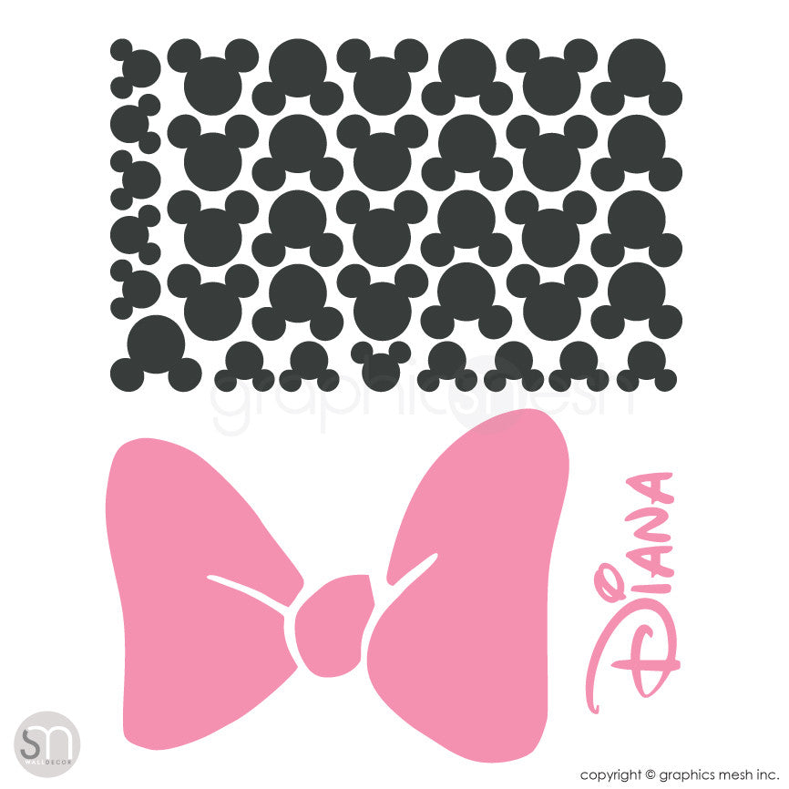 Mickey Mouse Inspired ears with Bow & PERSONALIZED BABY NAME / Minnie Mouse Inspired wall decals layout