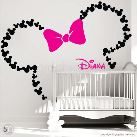 Mickey Mouse Inspired ears with Bow & PERSONALIZED BABY NAME / Minnie Mouse Inspired wall decals by GraphicsMesh black and hot pink