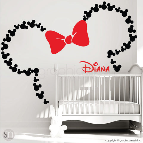 Mickey Mouse Inspired ears with Bow & PERSONALIZED BABY NAME / Minnie Mouse Inspired wall decals by GraphicsMesh black and red