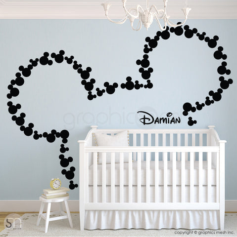 MICKEY MOUSE EARS WITH PERSONALIZED BABY NAME black