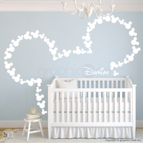 MICKEY MOUSE EARS WITH PERSONALIZED BABY NAME white