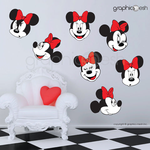 MINNIE MOUSE VARIOUS FACES - Printed Wall decals