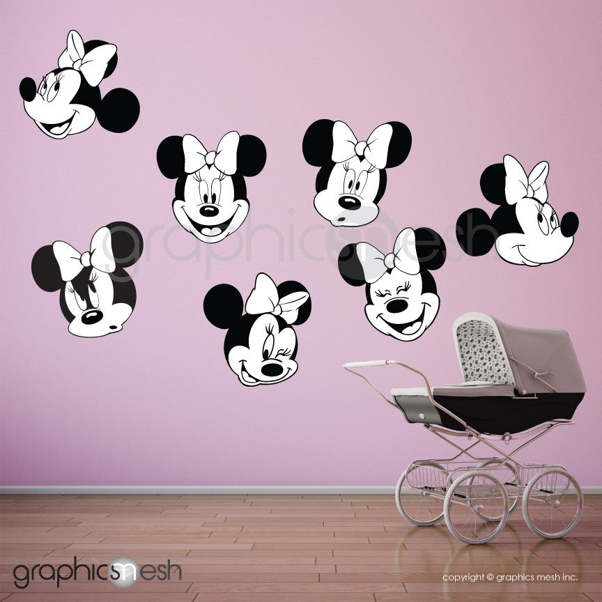 MINNIE MOUSE VARIOUS FACES - Printed Wall decals Black and white
