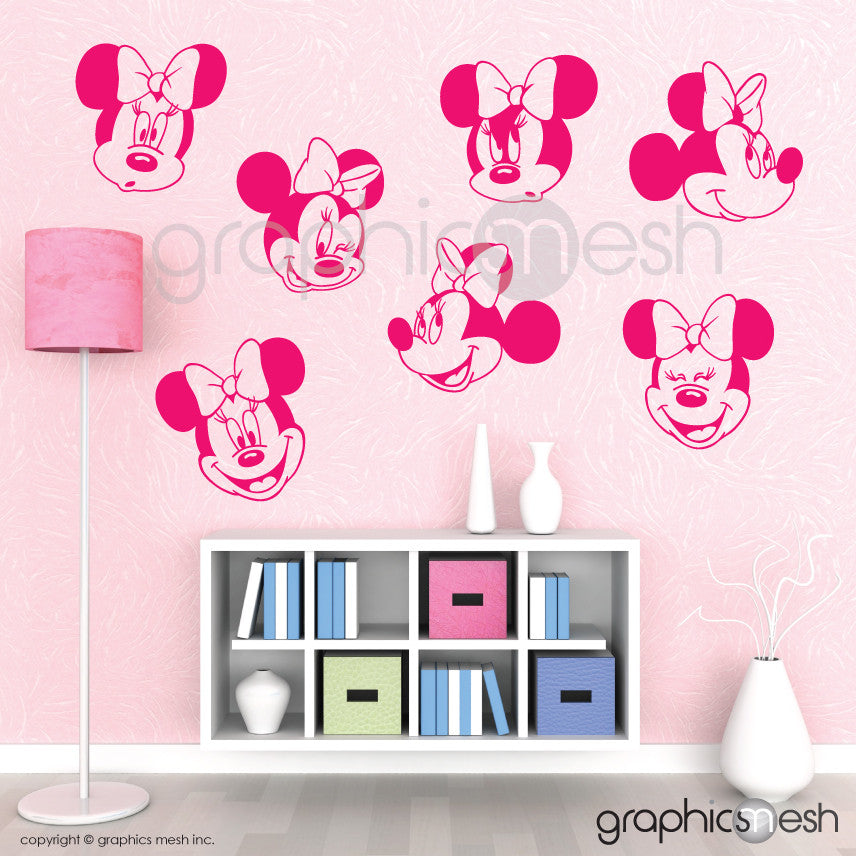 MINNIE MOUSE VARIOUS FACES - Wall decals pink
