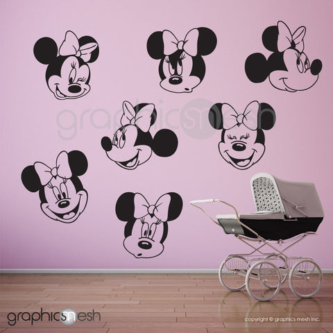 MINNIE MOUSE VARIOUS FACES - Wall decals black