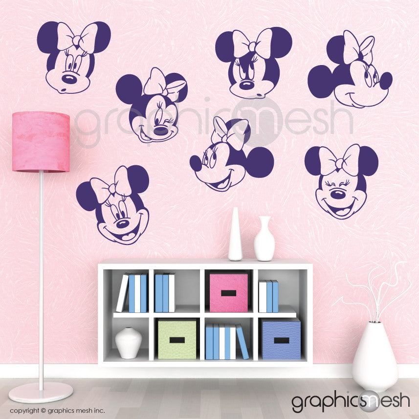 MINNIE MOUSE VARIOUS FACES - Wall decals lavender