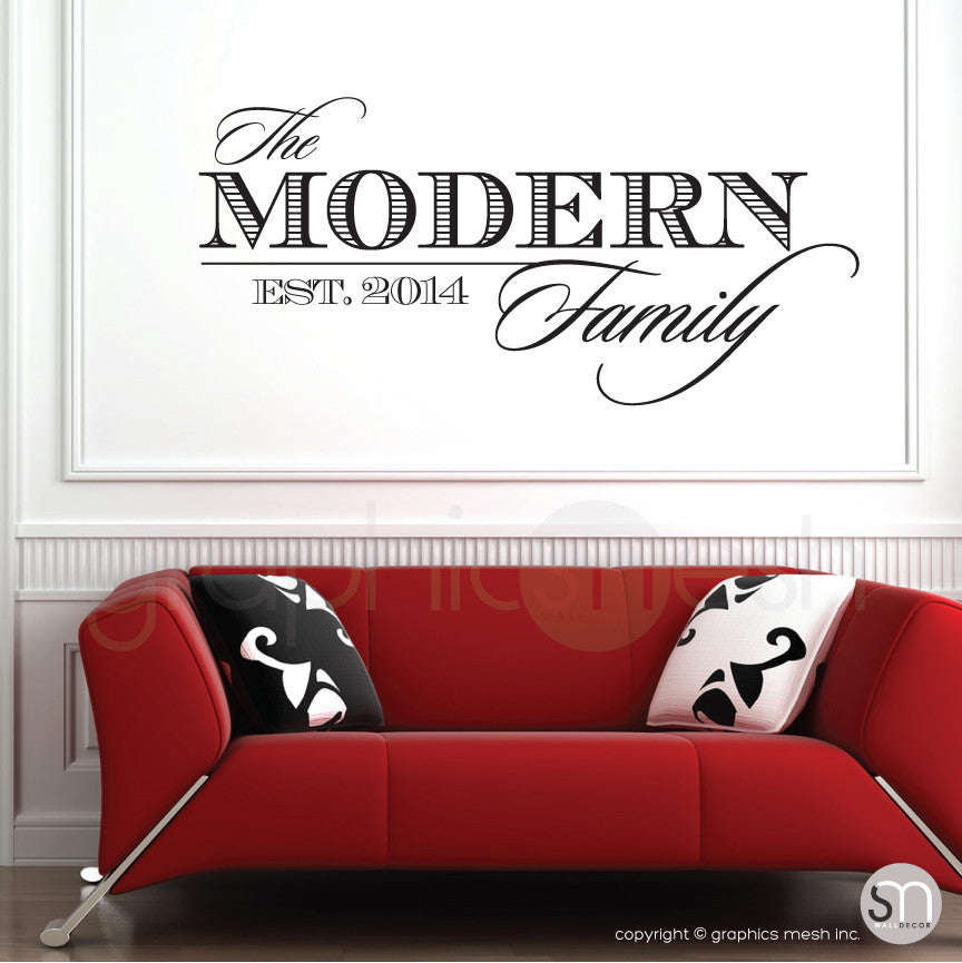 THE MODERN FAMILY NAME U0026 ESTABLISHED DATE   Personalized Wall Decals ...
