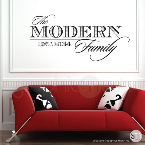 THE MODERN FAMILY NAME & ESTABLISHED DATE - Personalized Wall decals