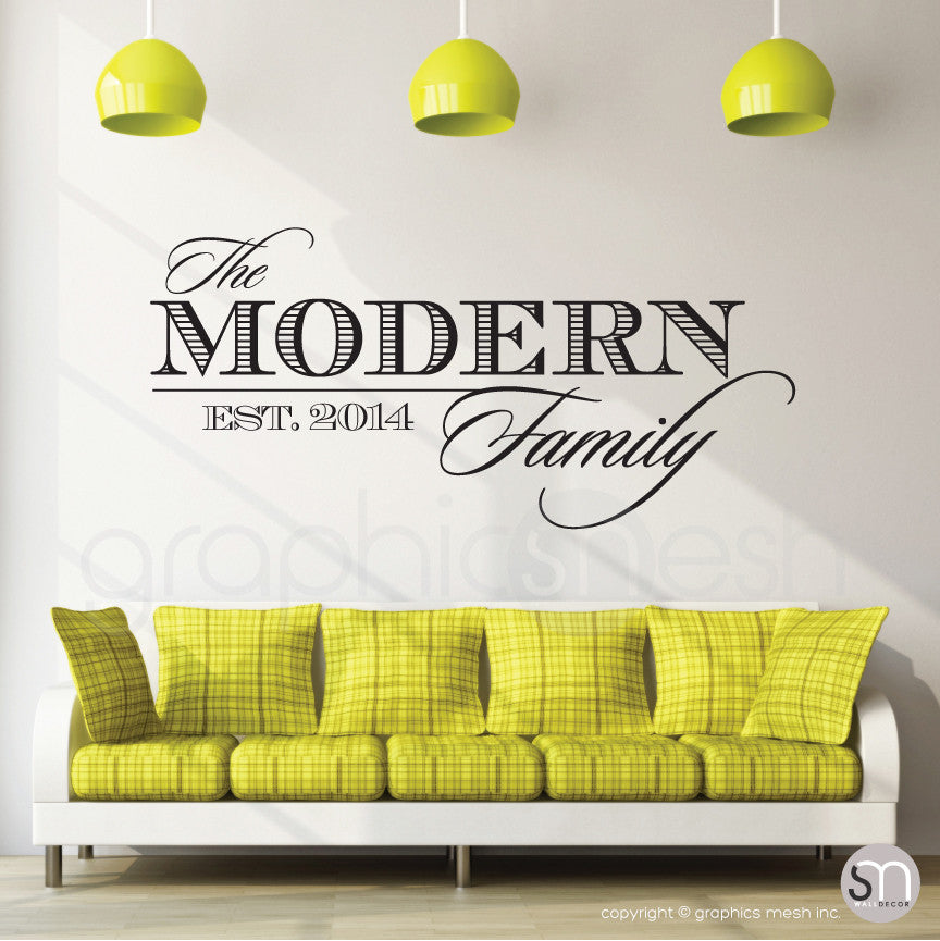 THE MODERN FAMILY NAME & ESTABLISHED DATE - Personalized Black Wall decals