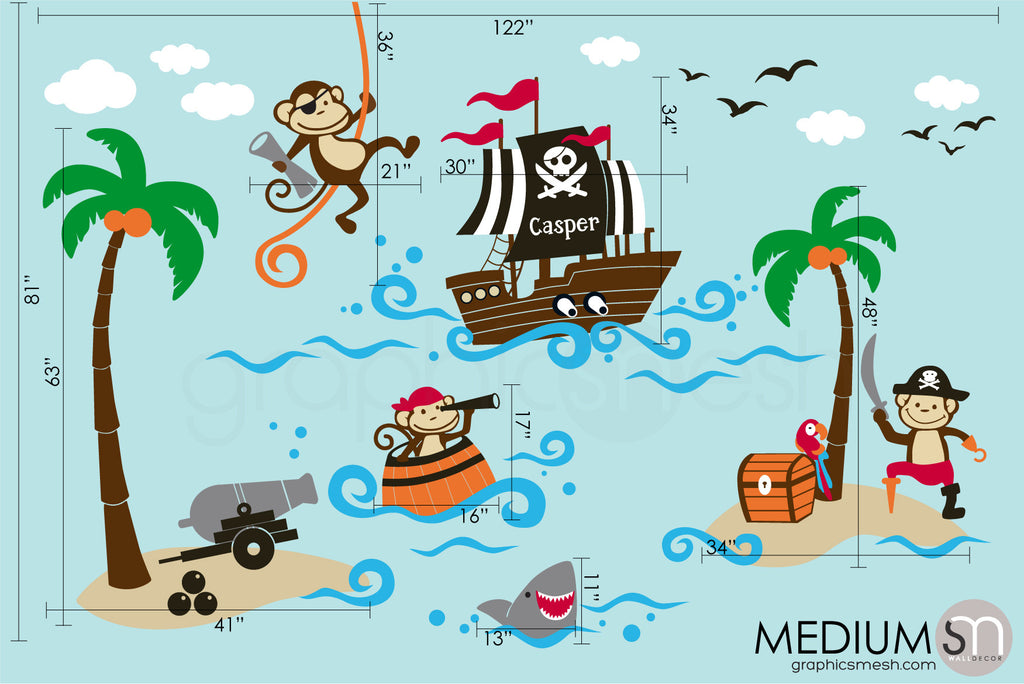 Medium set pirate monkeys