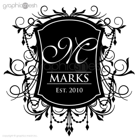 Monogram Crest Family Name Black