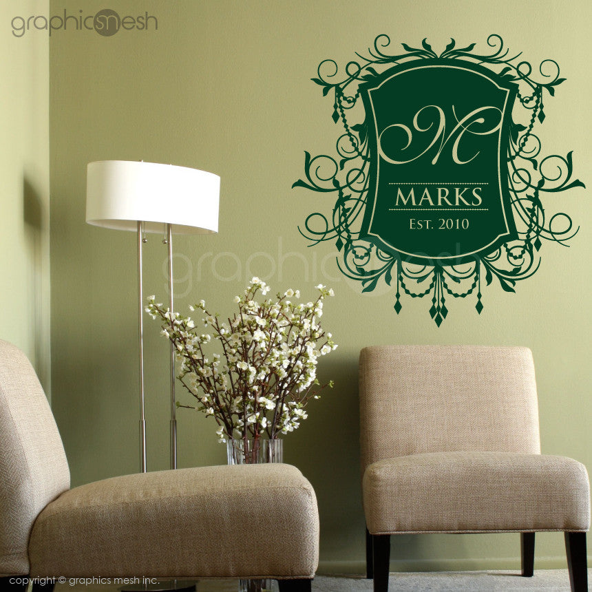 Monogram Crest Family Name Green