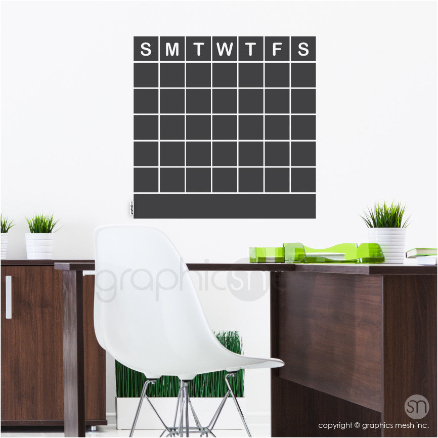 MONTHLY CALENDAR CHALKBOARD - ERASABLE WALL DECALS