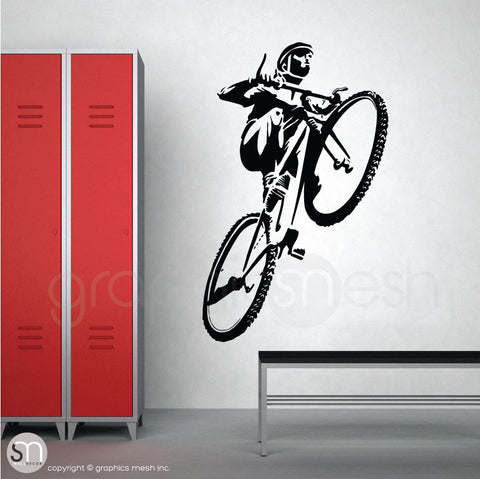 Mountain Biker jumping wall decal black