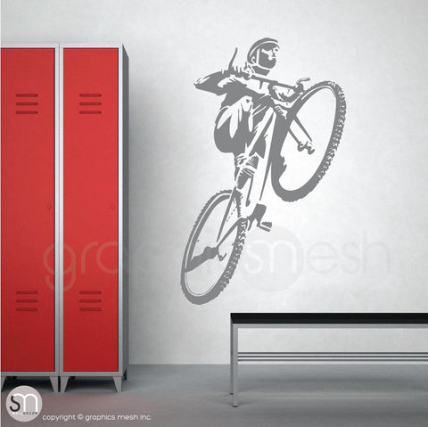 Mountain Biker jumping wall decal grey