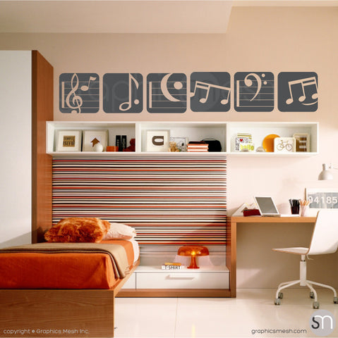 MUSIC NOTES BOXED - SET OF 6 - Wall Decals dark grey