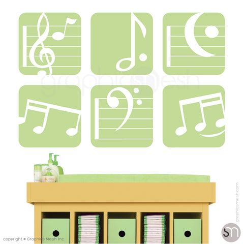 MUSIC NOTES BOXED - SET OF 6 - Wall Decals key lime pie color
