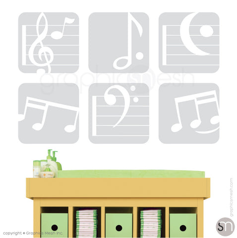MUSIC NOTES BOXED - SET OF 6 - Wall Decals light grey