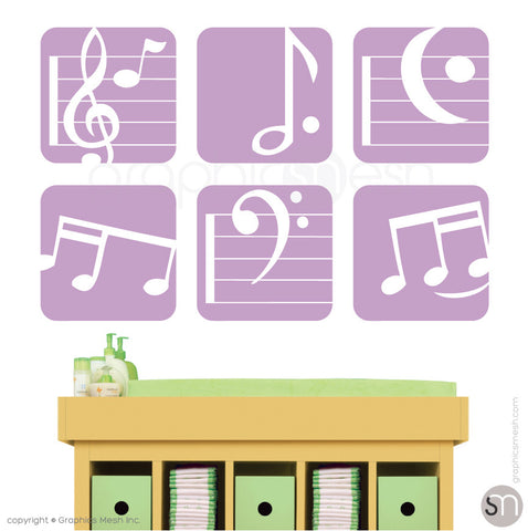 MUSIC NOTES BOXED - SET OF 6 - Wall Decals lilac
