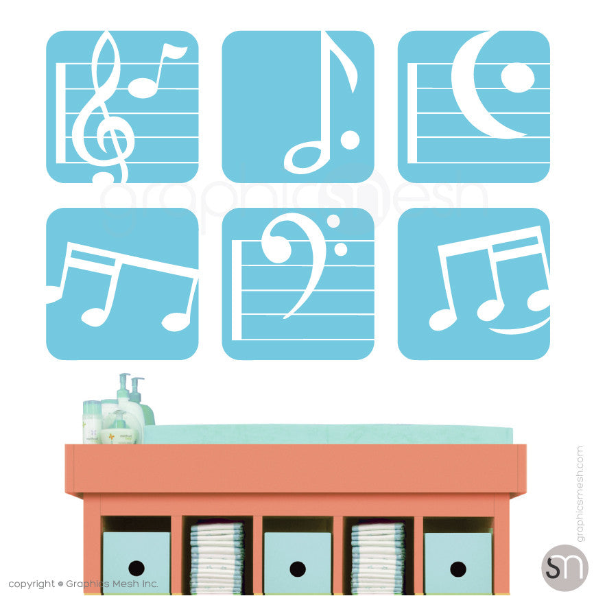 MUSIC NOTES BOXED - SET OF 6 - Wall Decals sea blue