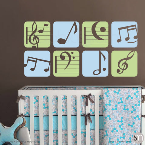 MUSIC NOTES BOXED - Wall Decals Key lime pie and powder blue