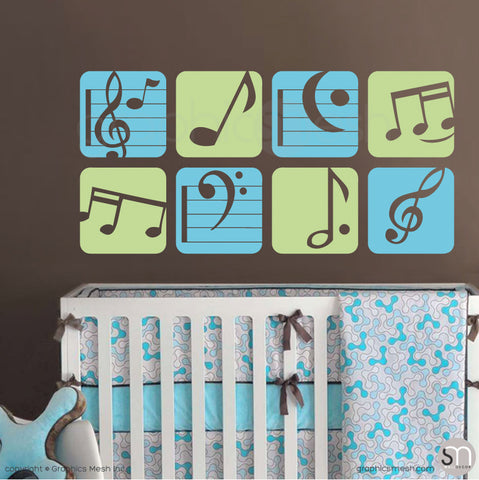 MUSIC NOTES BOXED - Wall Decals sea blue and key lime pie