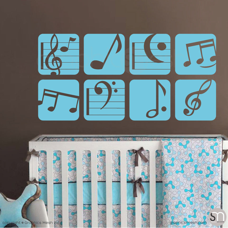MUSIC NOTES BOXED - Wall Decals sea blue