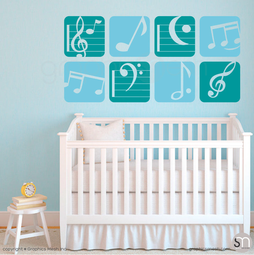 MUSIC NOTES BOXED - Wall Decals teal and blue