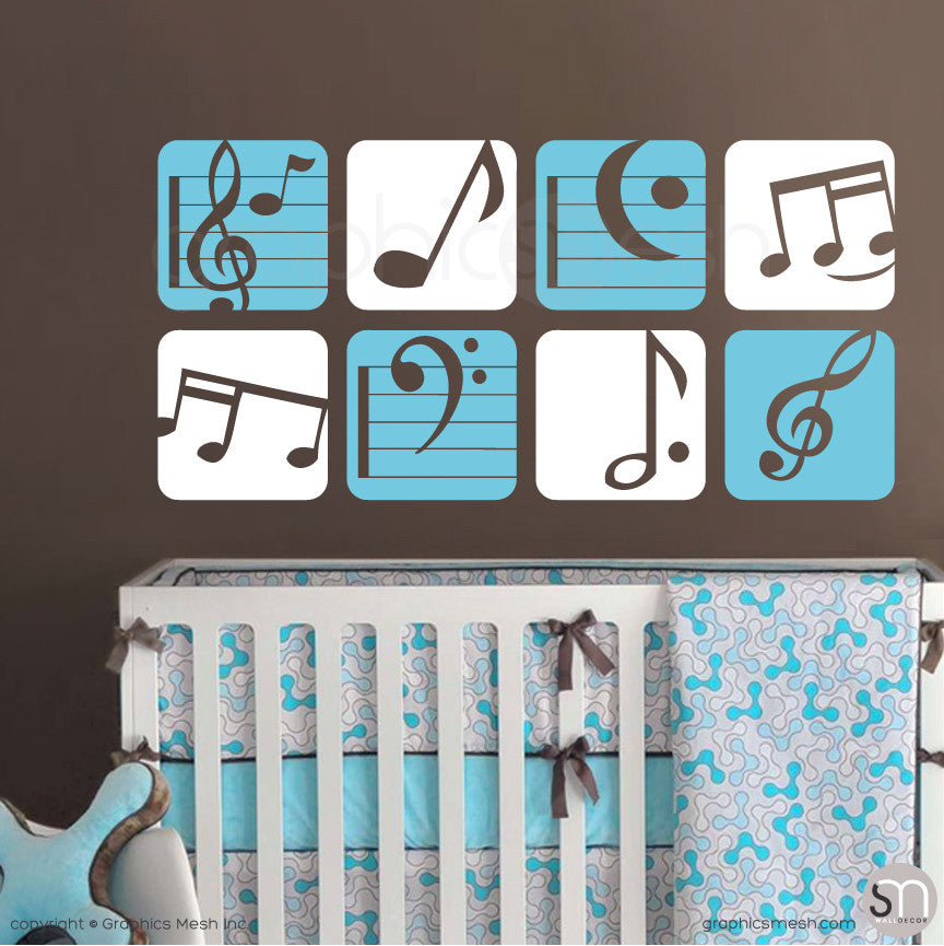 MUSIC NOTES BOXED - Wall Decals sea blue and white