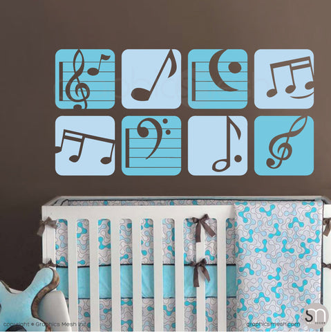 MUSIC NOTES BOXED - Wall Decals sea blue and powder blue