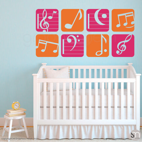 MUSIC NOTES BOXED - Wall Decals orange and hot pink