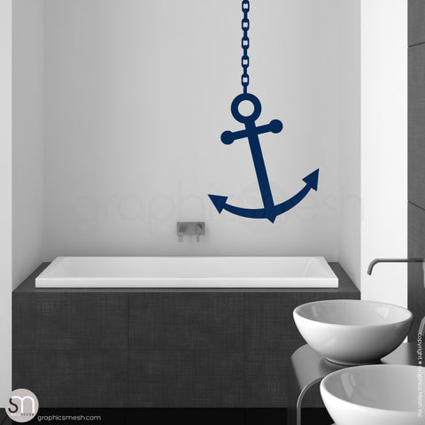 ANCHOR ON CHAIN - Wall decal navy